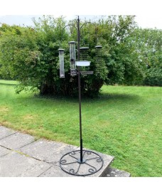 Metal Complete Bird Feeding Station with 4 Large Feeders & Patio Stand