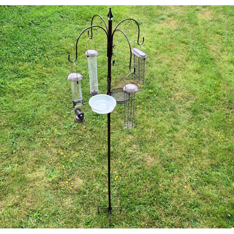 Metal Complete Bird Feeding Station with 4 Large Feeders & Stabiliser Stand