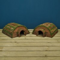 Set of Two Wooden Barkwood Hogitat Hedgehog House Shelters