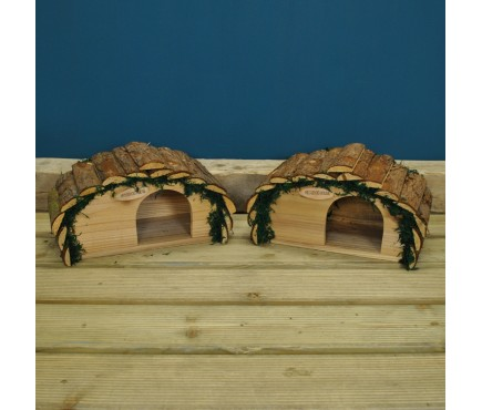 Set of Two Wooden Hedgehog House Hogitats With Bark Roof