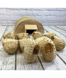 Bamboo Hogitat Hedgehog House Shelter with Raffia Style Bird Pouches