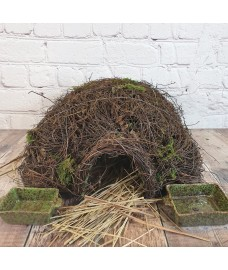 Brushwood Hedgehog House With Ceramic Food & Water Dish Set & Nesting Straw