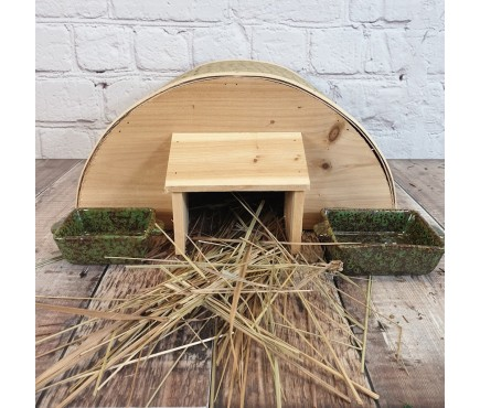 Bamboo Hedgehog House With Ceramic Food & Water Dish Set & Nesting Straw