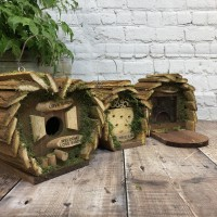 Hanging Wooden Bird Nest Box, Insect Hotel & Squirrel Feeder Wildlife Care Set