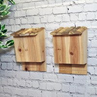 Set of 2 Large Wooden Bat Nesting Roosting Boxes