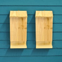 Set of 2 Wooden Bat Boxes with Landing Perch