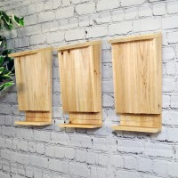 Set of 3 Wooden Bat Boxes with Landing Perch