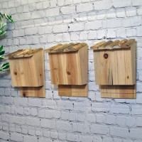 Set of 3 Large Wooden Bat Nesting Roosting Boxes
