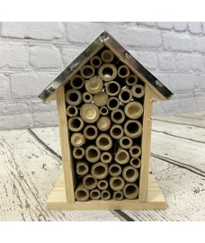 Wooden Hanging Insect, Bug and Bee House with Metal Roof