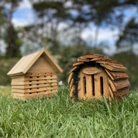 Wooden Solitary Bee Hive Hotel Habitat & Hanging Butterfly House