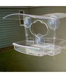 Clear View Window Bird Feeder for Fatball, Seed and Nuts with Water Dish