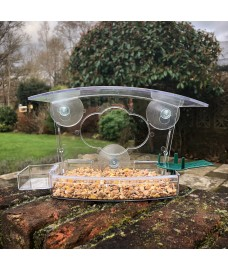 Clear Viewing Window Bird Feeder for Fatball, Seed and Nuts with Water Dish