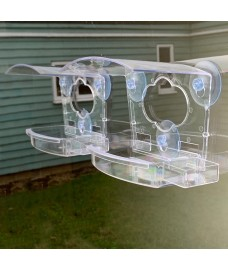 Clear View Window Bird Feeder for Fatball, Seed and Nuts with Water Dish (Set of 2)