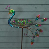 Glass Peacock Wild Bird Bath Stake by Smart Solar