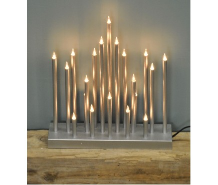 Silver Christmas Star Candle Bridge (Mains Powered) by Premier