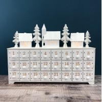 LED White Alpine Village Advent Calendar