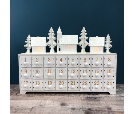 White Alpine Village Advent Calendar with LED Lights