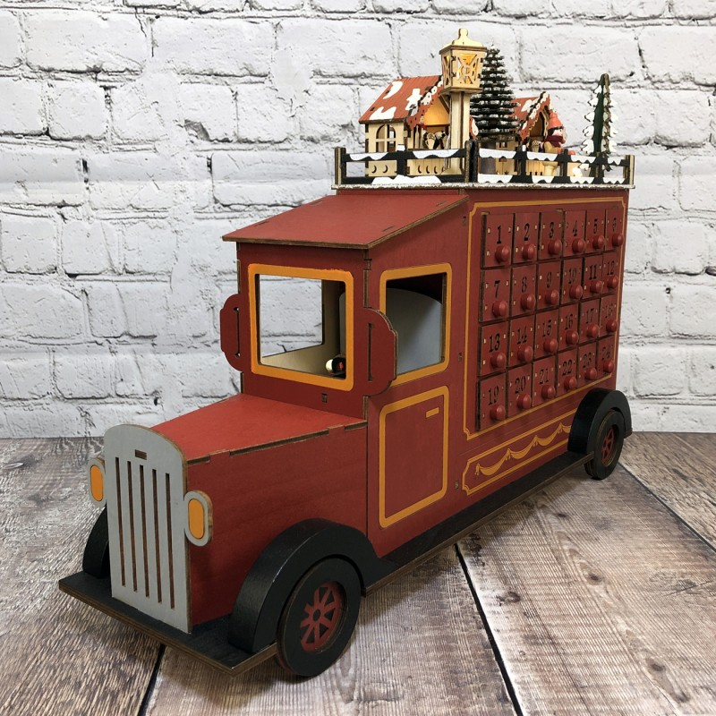 Wooden Truck Advent Calendar with LED Lights