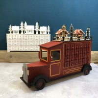 Wooden Truck and White Alpine Village Advent Calendars With LED Lights (Set of 2)