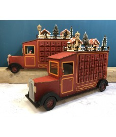 Wooden Truck Advent Calendar with LED Lights (Set of 2)