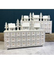 White Alpine Village Scene Advent Calendar with LED Lights (Set of 2)
