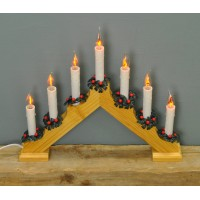 Christmas V Shaped Flickering Light Candle Bridge (Mains Powered) by Premier