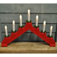 Red Christmas Candle Bridge Light (Battery Powered)