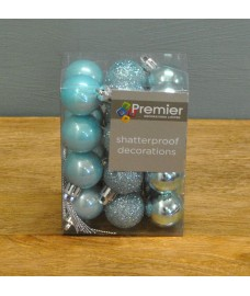 Ice Blue Decorated 3cm Bauble Decorations (Set of 24)