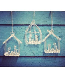 Set Of Three Hanging Glass Nativity Christmas Tree Decorations