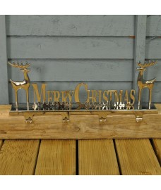 Merry Christmas Silver 4 Hook Stocking Hanger