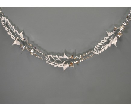 Silver and White Christmas Foil Hanging Garland Decoration (2.7m)