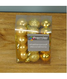 Gold Decorated 3cm Bauble Decorations (Set of 24)