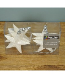 White Glitter 10cm Christmas Tree Stars (Set of 6)