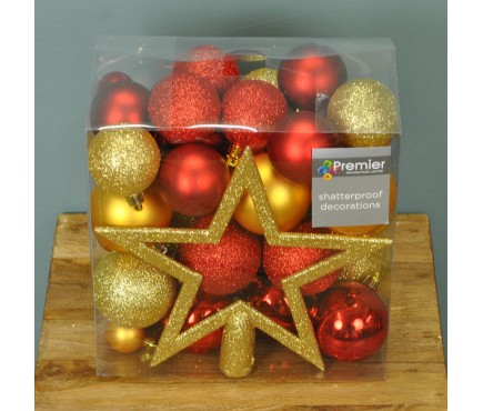 Red & Gold Mixed Bauble Decoration Pack (Set of 50)