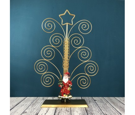 Father Christmas Gold Swirl Card Holder Tree