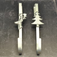 Set of 2 Silver Metal Christmas Wreath Door Hangers