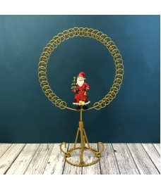 Factory Second - Traditional Santa Gold Circle Christmas Card Holder