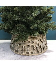 Grey Wicker Christmas Tree Skirt