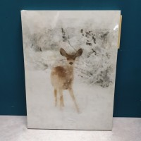 Deer Christmas Scene Fibre Optic LED Canvas