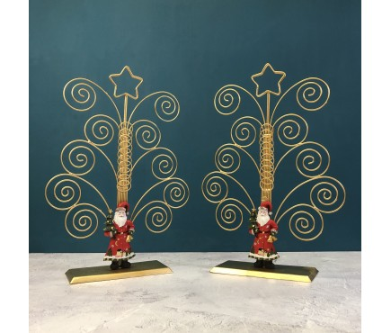 Traditional Father Christmas Gold Card Holders (Set of 2)