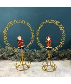 Traditional Santa Gold Circle Christmas Card Holder (Set of 2)