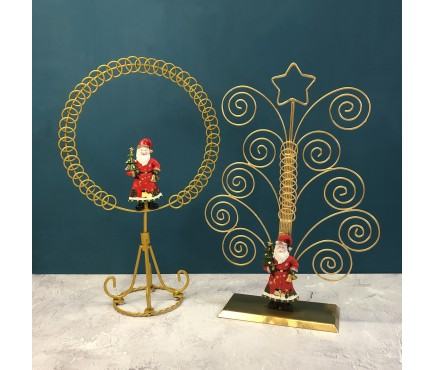 Traditional Santa Christmas Gold Card Holders (Set of 2)
