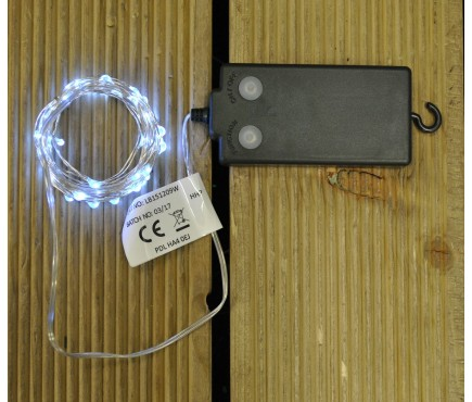 50 LED Pinwire String Lights with Timer - White (Battery)