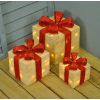 Set of 3 LED Light Up Cream White Christmas Gift Boxes by Premier