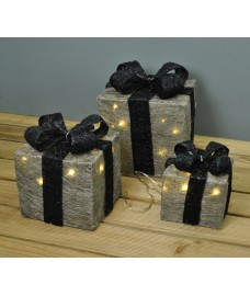 Set of 3 LED Light Up Silver Christmas Gift Boxes