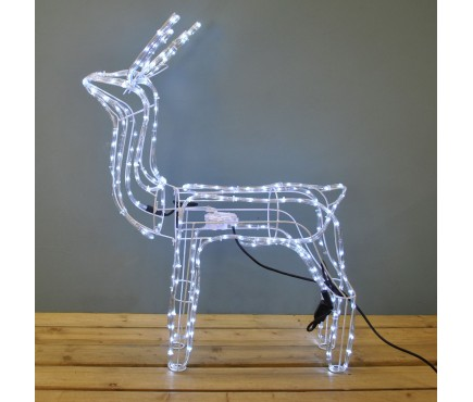 White Twinkling Reindeer with Moving Head Light (102cm)