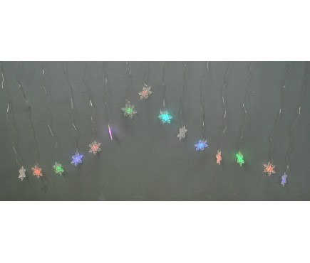 15 Snowflake Curtain LED Lights (Battery)