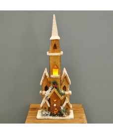 Nordic Wooden Lit Church Christmas Scene with LEDs
