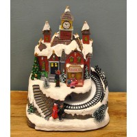 Christmas Village Scene Ornament with Lights Animation and Sound