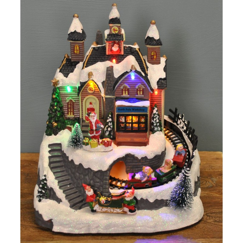 Santa Christmas Scene Ornament with Lights Moving Train and Sound